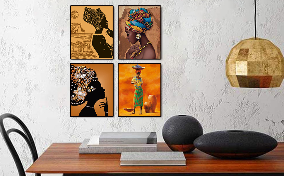 """145251f9 e595 4131 80cb 520ae8531e92.  CR0,0,970,600 PT0 SX970 V1    - Retro Style Tribal African American Wall Art Painting Set of 4 (8""""X10"""" Canvas Picture) Black Woman Ethnic Ancient Theme Diamond Girl Room Poster Art Painting Bedroom or Bathroom Decor Unframed"""