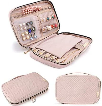 1625530607 412CFiqCCLL. AC  428x445 - BAGSMART Jewelry Organizer Case Travel Jewelry Storage Bag for Necklace, Earrings, Rings, Bracelet, Soft Pink