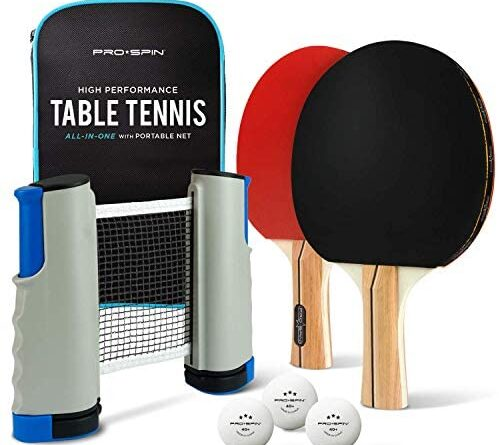 1625704048 51Tpf PToWL. AC  499x445 - PRO SPIN Play Anywhere Portable Ping Pong Set – 2-Player Kit with Ping Pong Net for Any Table, Premium Ping Pong Paddles, 3-Star Balls, Convenient Storage Case | Table Tennis Set with Retractable Net