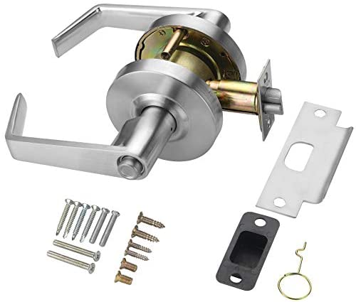 1625747357 41XOz42yqVL. AC  - Heavy Duty Commercial Cylindrical Lever Door Lock (Privacy/Bathroom Function, Satin Chrome, 26D) Non-Handed, Grade 2 Industrial Door Handle - UL 3 Hour Fire Rated & ADA Compliant