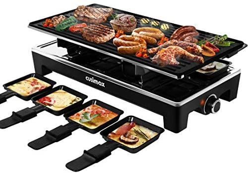 1626137464 51bR WhAKLL. AC  - CUSIMAX Raclette Grill Electric Grill Table, Portable 2 in 1 Korean BBQ Grill Indoor & Cheese Ractlette, Reversible Non-stick plate, Crepe Maker with Adjustable temperature control and 8 Paddles