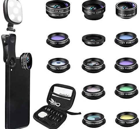 1626353921 51cXiHytyrL. AC  484x445 - Godefa Phone Camera Lens Kit, 14 in 1 Lenses with Selfie Ring Light for iPhone 12, 11, Xs, Xr,8 7 6s Plus, Samsung and Other Andriod Smartphone, Universal Clip on Wide Angle+Macro+ Zoom Camera Lenses