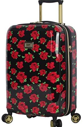 1626613867 51qJbqnx5yL. AC  292x445 - Betsey Johnson Designer 20 Inch Carry On - Expandable (ABS + PC) Hardside Luggage - Lightweight Durable Suitcase With 8-Rolling Spinner Wheels for Women (Covered Roses)