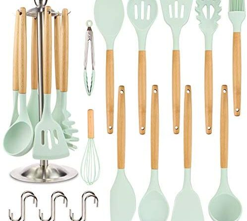 1627046745 41gbkUcol0L. AC  498x445 - Silicone Kitchen Cooking Utensil Set, EAGMAK 16PCS Kitchen Utensils Spatula Set with Stainless Steel Stand for Nonstick Cookware, BPA Free Non-Toxic Cooking Utensils, Kitchen Tools Gift (Mint Green)
