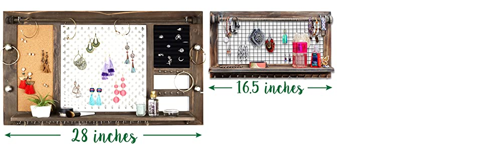 213a3d85 5c36 498b 97a8 3a609b788c07.  CR1,0,3518,1088 PT0 SX970 V1    - Rustic Jewelry Organizer with Bracelet Rod Wall Mounted - Wooden Wall Mount Holder for Earrings, Necklaces, Bracelets, and Many Other Accessories SoCal Buttercup
