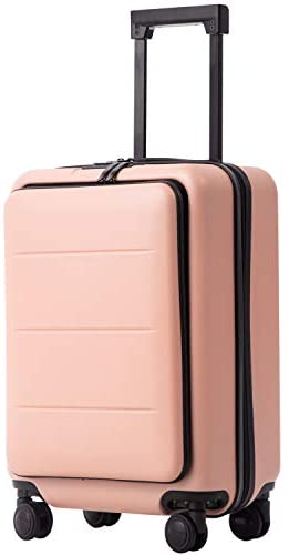 313VupgHEcL. AC  - COOLIFE Luggage Suitcase Piece Set Carry On ABS+PC Spinner Trolley with pocket Compartmnet Weekend Bag (Sakura pink, 20in(carry on))