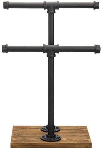31bEygXFG5L. AC  - MyGift 2-Tier Urban Rustic Metal Industrial Pipe & Brown Wood T-Bar Necklace Jewelry Stand