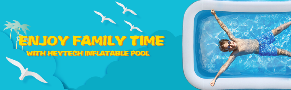 """38de7bee 2940 4852 a076 98de578ad825.  CR0,0,970,300 PT0 SX970 V1    - heytech Family Inflatable Swimming Pool, 118"""" X 72"""" X 22"""" Full-Sized Inflatable Lounge Pool for Kiddie, Kids, Adult, Toddlers for Ages 3+, Outdoor, Garden, Backyard Summer Water Party Blow up Pool…"""