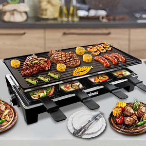 3a388d4c 6485 47f5 9539 471f03b2b2b2.  CR0,0,300,300 PT0 SX300 V1    - CUSIMAX Raclette Grill Electric Grill Table, Portable 2 in 1 Korean BBQ Grill Indoor & Cheese Ractlette, Reversible Non-stick plate, Crepe Maker with Adjustable temperature control and 8 Paddles