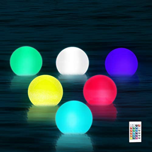 41+b5XdCf+L. AC  - WHATOOK Floating Pool Lights: 6Pack 16 Color Changing Remote Led Ball Light IP68 Waterproof Bath Toys,Replaceable Battery Hot Tub Glow Night Lights for Swimming Pool,Garden,Wedding Decor