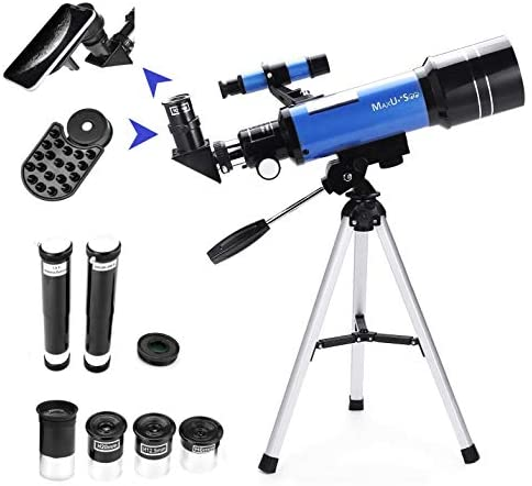 41 rYeKXpCL. AC  - MaxUSee 70mm Refractor Telescope with Tripod & Finder Scope for Kids & Astronomy Beginners, Portable Telescope with 4 Magnification eyepieces & Phone Adapter