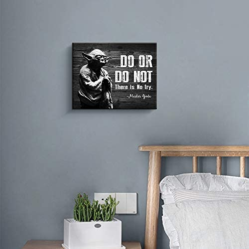 411q8ie+jyL. AC  - Motivational Wall Art Inspirational Quotes of Master Yoda Vintage Giclee Canvas Wall Art Framed for Home and Office Decor (Black)