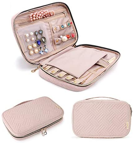 412CFiqCCLL. AC  - BAGSMART Jewelry Organizer Case Travel Jewelry Storage Bag for Necklace, Earrings, Rings, Bracelet, Soft Pink