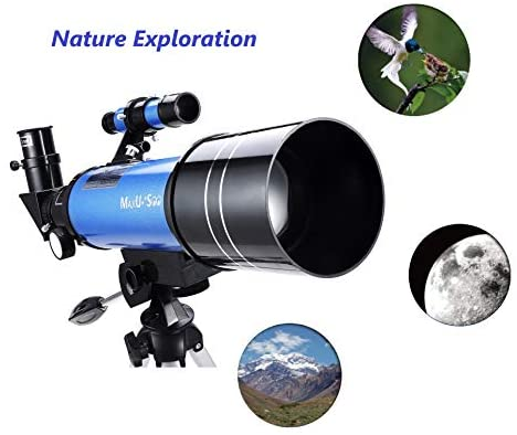 4149Ay6RnEL. AC  - MaxUSee 70mm Refractor Telescope with Tripod & Finder Scope for Kids & Astronomy Beginners, Portable Telescope with 4 Magnification eyepieces & Phone Adapter