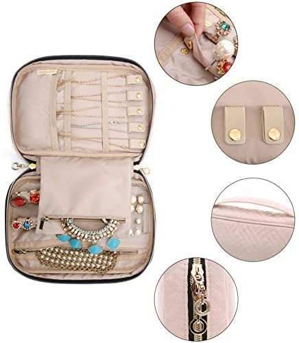 4154g5L +3L. AC  - BAGSMART Jewelry Organizer Case Travel Jewelry Storage Bag for Necklace, Earrings, Rings, Bracelet, Soft Pink