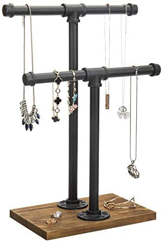 418B62FpSrL. AC  - MyGift 2-Tier Urban Rustic Metal Industrial Pipe & Brown Wood T-Bar Necklace Jewelry Stand