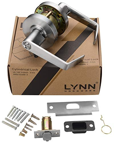 41CfmBDawRL. AC  - Heavy Duty Commercial Cylindrical Lever Door Lock (Privacy/Bathroom Function, Satin Chrome, 26D) Non-Handed, Grade 2 Industrial Door Handle - UL 3 Hour Fire Rated & ADA Compliant