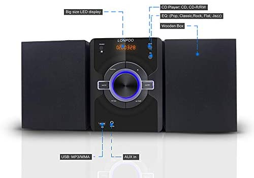 41EEZgy1lGL. AC  - Compact Stereo Shelf System 30W (2x15W) Bluetooth CD Player Home Music System, Digital FM Stereo with Speakers, Headphone Jack, Aux-in&USB, Remote Control