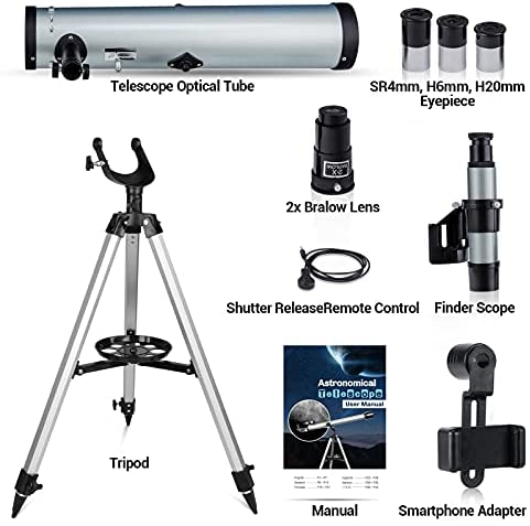 41EIXSDhdJS. AC  - Astronomical Telescope for Kids and Astronomy Beginners, 700mm/76mm Starter Scope Good Partner to View Landscape and Planet, with Tripod, Wire Shutter, Phone Adapter