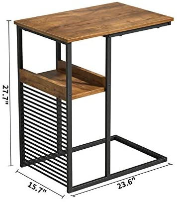 41H4cwgQr1L. AC  - Cubiker Sofa Side End Table, Side Table with Wooden Shelf, C Shaped Couch Table for Living Room, Bedroom, Metal Frame Nightstand