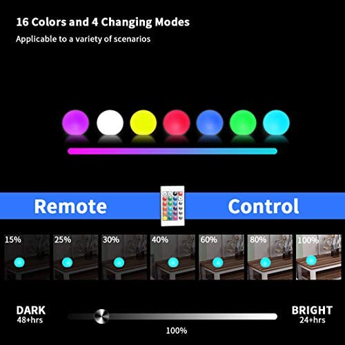 41HtJYlUiUL. AC  - WHATOOK Floating Pool Lights: 6Pack 16 Color Changing Remote Led Ball Light IP68 Waterproof Bath Toys,Replaceable Battery Hot Tub Glow Night Lights for Swimming Pool,Garden,Wedding Decor