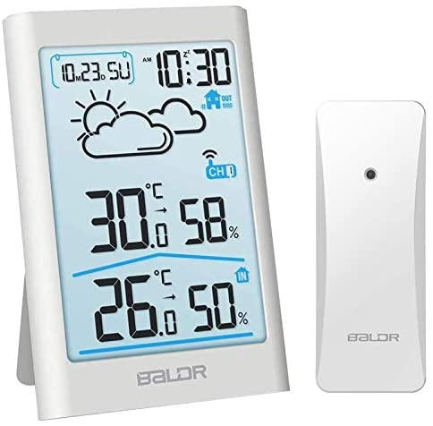 41Jqdlo m L. AC  - BALDR Wireless Weather Station, Digital Indoor Outdoor Thermometer Hygrometer with Backlight LCD Display and External Sensor, Ideal for Weather Forecast Monitoring, Alarm Clock - White