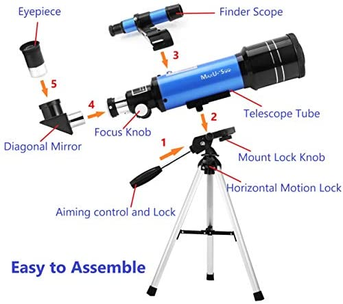 41NjqB 1GPL. AC  - MaxUSee 70mm Refractor Telescope with Tripod & Finder Scope for Kids & Astronomy Beginners, Portable Telescope with 4 Magnification eyepieces & Phone Adapter