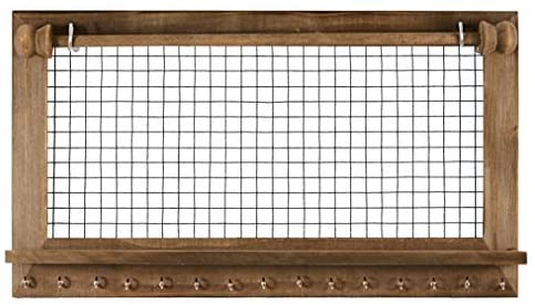 41WOP6K2wxL. AC  - Rustic Jewelry Organizer with Bracelet Rod Wall Mounted - Wooden Wall Mount Holder for Earrings, Necklaces, Bracelets, and Many Other Accessories SoCal Buttercup