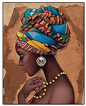 """41WvVUHkTEL. AC  - Retro Style Tribal African American Wall Art Painting Set of 4 (8""""X10"""" Canvas Picture) Black Woman Ethnic Ancient Theme Diamond Girl Room Poster Art Painting Bedroom or Bathroom Decor Unframed"""