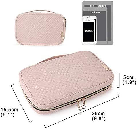 41Xljb0QWtL. AC  - BAGSMART Jewelry Organizer Case Travel Jewelry Storage Bag for Necklace, Earrings, Rings, Bracelet, Soft Pink