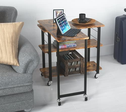41cMTXT5fCS. AC  - Yechen Sofa Side Table, 360° Rotating Mobile Couch Desk Table, Movable Laptop Table with 2-Tier Storage Shelves, Couch Side Table Snack Table for Living Room Bedroom, Sturdy Metal Frame, 6 Casters