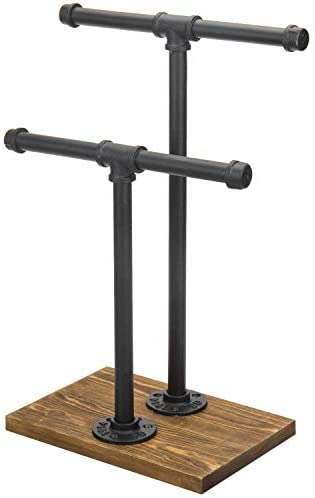 41dR8DF77qL. AC  - MyGift 2-Tier Urban Rustic Metal Industrial Pipe & Brown Wood T-Bar Necklace Jewelry Stand