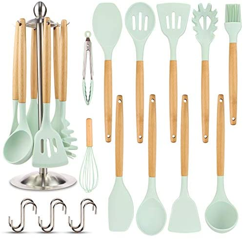 41gbkUcol0L. AC  - Silicone Kitchen Cooking Utensil Set, EAGMAK 16PCS Kitchen Utensils Spatula Set with Stainless Steel Stand for Nonstick Cookware, BPA Free Non-Toxic Cooking Utensils, Kitchen Tools Gift (Mint Green)