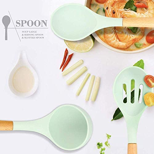 41kWYT2gHQL. AC  - Silicone Kitchen Cooking Utensil Set, EAGMAK 16PCS Kitchen Utensils Spatula Set with Stainless Steel Stand for Nonstick Cookware, BPA Free Non-Toxic Cooking Utensils, Kitchen Tools Gift (Mint Green)