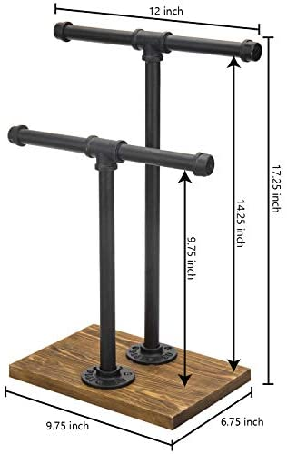 41lalr943FL. AC  - MyGift 2-Tier Urban Rustic Metal Industrial Pipe & Brown Wood T-Bar Necklace Jewelry Stand