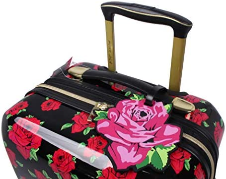 41p+WN35qWL. AC  - Betsey Johnson Designer 20 Inch Carry On - Expandable (ABS + PC) Hardside Luggage - Lightweight Durable Suitcase With 8-Rolling Spinner Wheels for Women (Covered Roses)