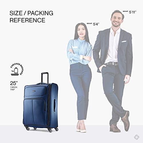 41qA8geC7XL. AC  - Samsonite Leverage LTE Softside Expandable Luggage with Spinner Wheels, Poseidon Blue, Checked-Medium 25-Inch