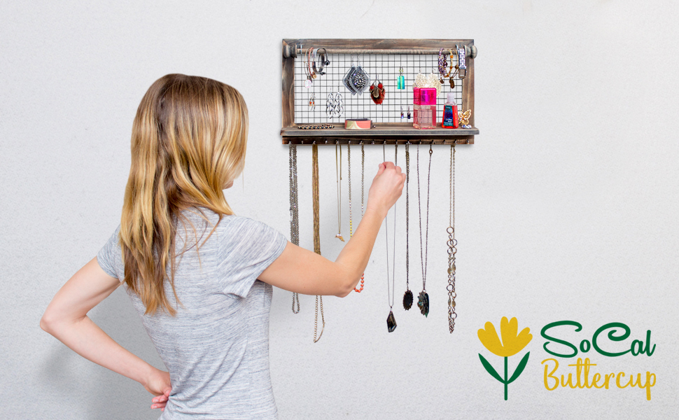 4ac5e688 6cfc 4552 91e1 005688598aed.  CR0,0,970,600 PT0 SX970 V1    - Rustic Jewelry Organizer with Bracelet Rod Wall Mounted - Wooden Wall Mount Holder for Earrings, Necklaces, Bracelets, and Many Other Accessories SoCal Buttercup