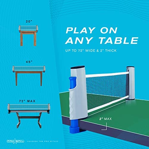 51+JQqlhumL. AC  - PRO SPIN Play Anywhere Portable Ping Pong Set – 2-Player Kit with Ping Pong Net for Any Table, Premium Ping Pong Paddles, 3-Star Balls, Convenient Storage Case | Table Tennis Set with Retractable Net