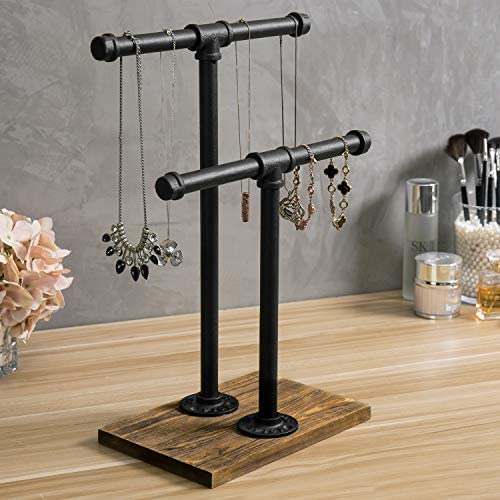 51 tgigObpL. AC  - MyGift 2-Tier Urban Rustic Metal Industrial Pipe & Brown Wood T-Bar Necklace Jewelry Stand