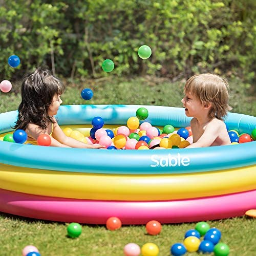510jHdFEfqL. AC  - Sable Kiddie Pool, Inflatable Baby Pool 58'' x 13'', Kids Swimming Pools for Babies, Toddlers, Outdoor, Indoor, Garden