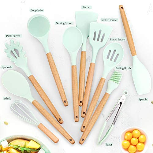 511RBGin4LL. AC  - Silicone Kitchen Cooking Utensil Set, EAGMAK 16PCS Kitchen Utensils Spatula Set with Stainless Steel Stand for Nonstick Cookware, BPA Free Non-Toxic Cooking Utensils, Kitchen Tools Gift (Mint Green)