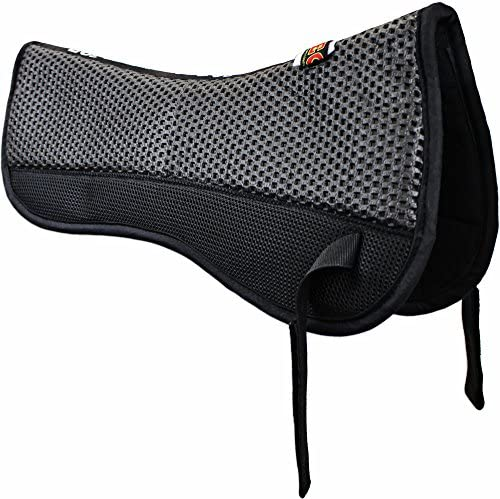 511T8MLH9bL. AC  - ECP All Purpose Grip Tech Half Saddle Pad Non Slip Top Brushed Cotton Bottom Compression Foam Breathable Shock Absorbing Moisture Wicking with Mesh Flaps