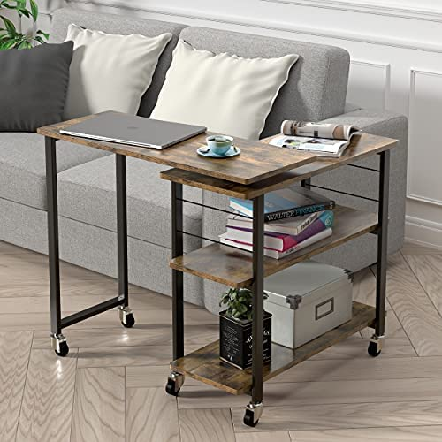 512d Ghd lS. AC  - Yechen Sofa Side Table, 360° Rotating Mobile Couch Desk Table, Movable Laptop Table with 2-Tier Storage Shelves, Couch Side Table Snack Table for Living Room Bedroom, Sturdy Metal Frame, 6 Casters