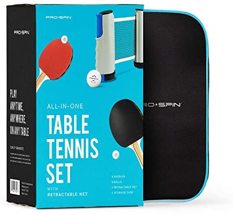 512idisR2ZL. AC  - PRO SPIN Play Anywhere Portable Ping Pong Set – 2-Player Kit with Ping Pong Net for Any Table, Premium Ping Pong Paddles, 3-Star Balls, Convenient Storage Case | Table Tennis Set with Retractable Net