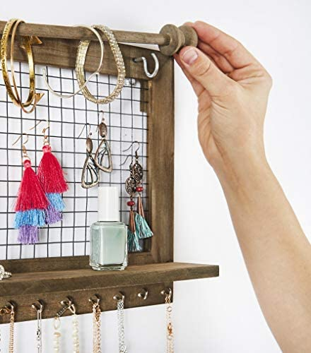 5134 iV91NL. AC  - Rustic Jewelry Organizer with Bracelet Rod Wall Mounted - Wooden Wall Mount Holder for Earrings, Necklaces, Bracelets, and Many Other Accessories SoCal Buttercup