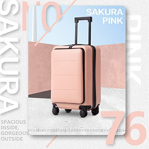 515g0TkTxWL. AC  - COOLIFE Luggage Suitcase Piece Set Carry On ABS+PC Spinner Trolley with pocket Compartmnet Weekend Bag (Sakura pink, 20in(carry on))