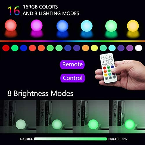 516752 BH0L. AC  - FROQUII Floating Pool Lights, 16 Colors Pond LED Ball Lights with Remote Control, Waterproof Cordless Hot Tub Lights Kids Night Light Ball Lamp for Pool Garden Backyard Lawn Beach Party Decor (1pcs)