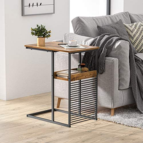 517M0Zx9K3L. AC  - Cubiker Sofa Side End Table, Side Table with Wooden Shelf, C Shaped Couch Table for Living Room, Bedroom, Metal Frame Nightstand