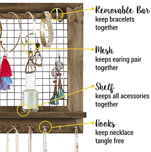 518dHXDBv1L. AC  - Rustic Jewelry Organizer with Bracelet Rod Wall Mounted - Wooden Wall Mount Holder for Earrings, Necklaces, Bracelets, and Many Other Accessories SoCal Buttercup